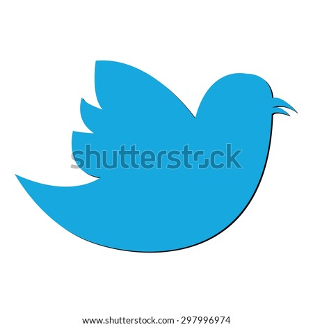 Flying twitter bird icon isolated on white background. Vector illustration - stock vector