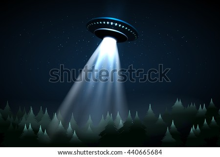 Flying UFO over night forest vector illustration - stock vector