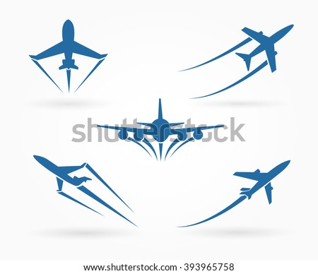 Flying up airplane icons. Takeoff plane symbol. Vector illustration - stock vector