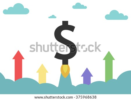 Flying up symbol money. Symbol of business growth or financial success.