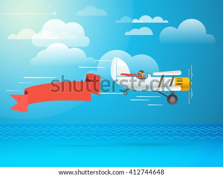 Flying vintage plane with the banner. Template for a text - stock vector