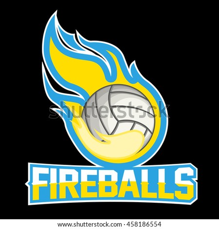 Flying volleyball ball with green fire flames on dark background. Design element. Vintage item. Modern professional logo for sport team - stock vector