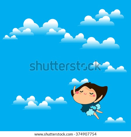 flying woman with cloudy and blue sky background to present freedom and happiness