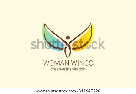 Flying Woman with Wings Logo abstract design vector template. Creative concept for Women's Shop: how to make woman happy. Angel logotype icon. - stock vector