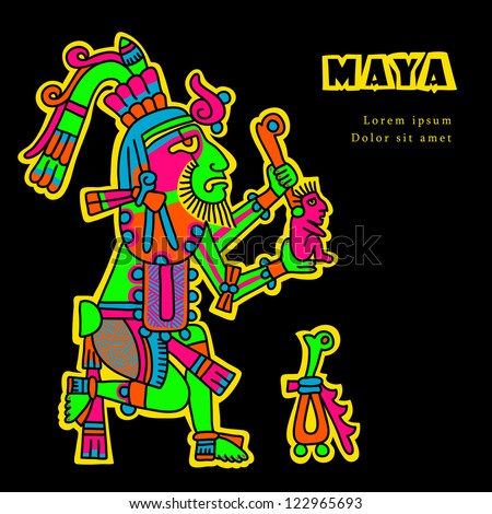 Flyuro image of the Maya. Maya designs. Maya design elements.