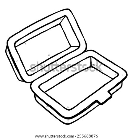 Foam Meal Box Cartoon Vector And Illustration Black White Hand Drawn