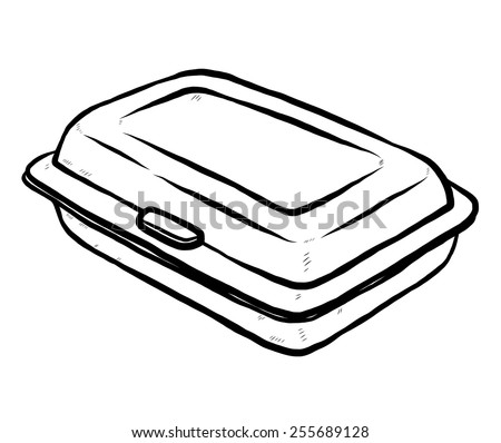 foam meal box / cartoon vector and illustration, black and white, hand drawn, sketch style, isolated on white background. - stock vector