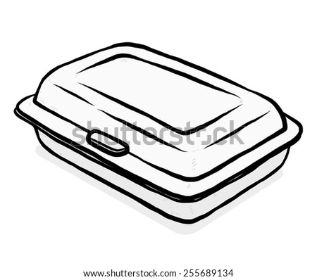 Foam Meal Box Cartoon Vector Illustration Stock Vector