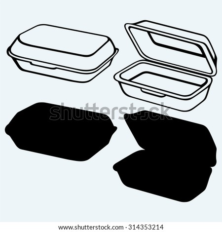 Foam meal box. Isolated on blue background - stock vector