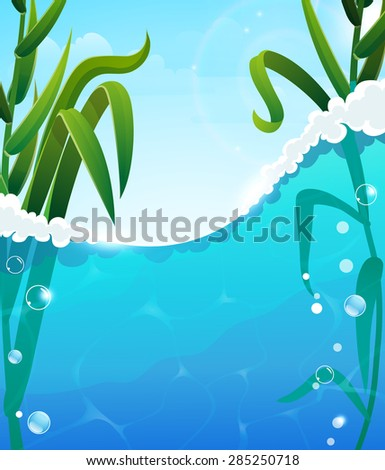 Foaming  river wave and aquatic plants. Air bubbles in the clear water. Blue sky with transparent clouds In the background - stock vector
