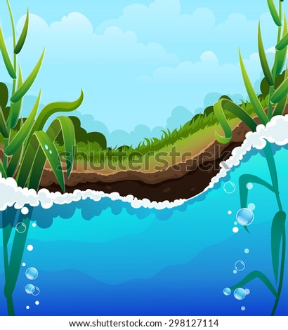 Foaming  river wave and aquatic plants. Air bubbles in the clear water. Shore, forest and blue sky with transparent clouds In the background - stock vector