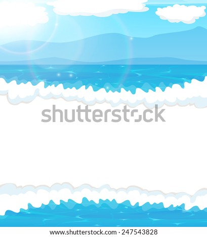 Foaming  waves and blue sky with clouds. Seascape background - stock vector