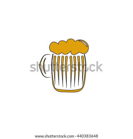foamy beer Flat yellow thin line symbol on white background. Vector icon