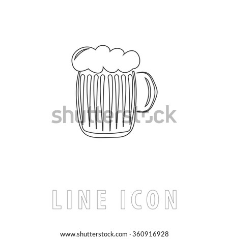 foamy beer Outline simple vector icon on white background. Line pictogram with text