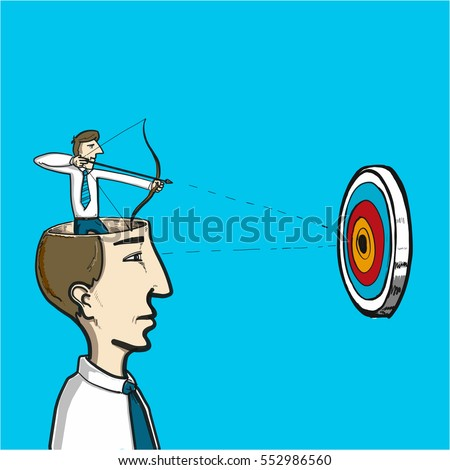 focus on target - conceptual vector illustration