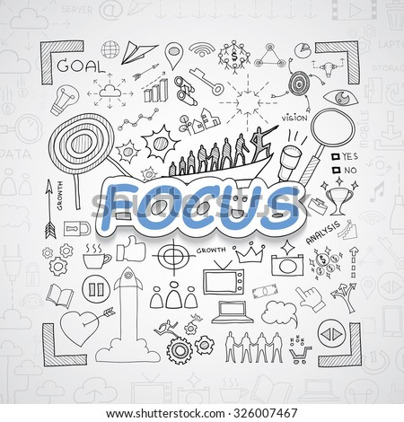 Focus text, With creative drawing charts and graphs business success strategy plan idea, Inspiration concept modern design template workflow layout, diagram, step up options.