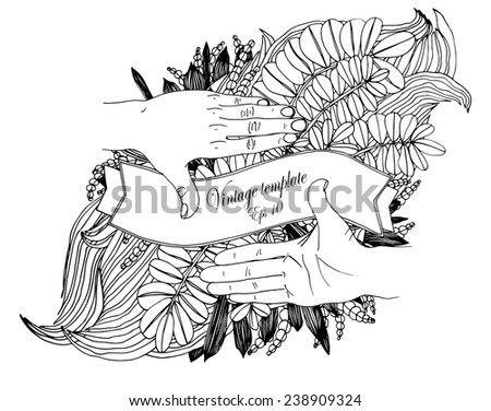 Focusing female hands with floral background. Vector template - stock vector