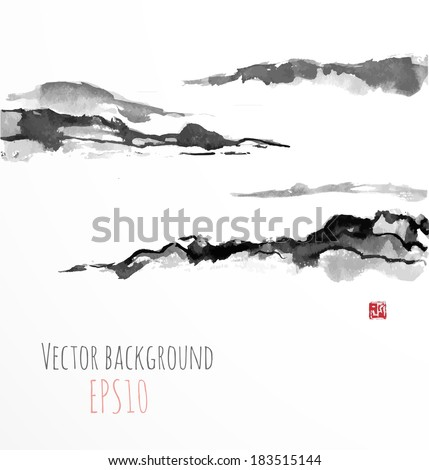 Fog mountains, hand-drawn with ink in traditional Japanese style sumi-e. - stock vector