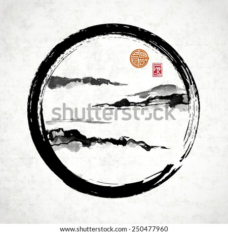 Fog mountains in enso circle hand-drawn with ink in traditional Japanese style sumi-e on rice paper. Sealed with decorative stylized stamps. - stock vector