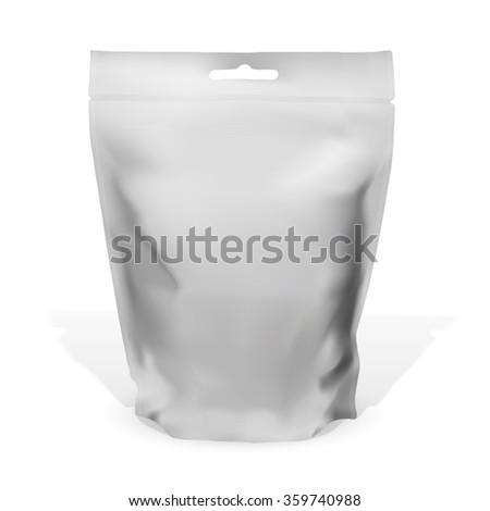 Foil vacuum bag for food or drinks. Vector illustration.