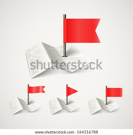 Folded abstract city map with collection of flags - stock vector