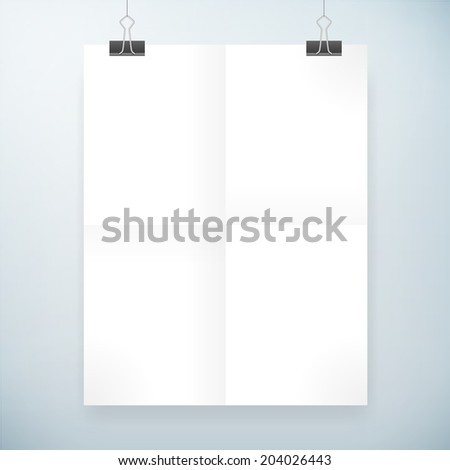 folded blank paper vector poster template. isolated from background.