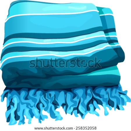 folded blue striped towel - stock vector
