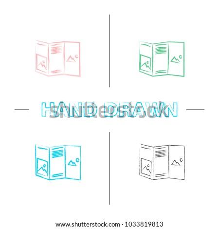 Folded Brochure Mockup Hand Drawn Icons Stock Vector (2018 ...