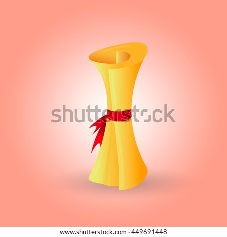 Folded Cartoon Scroll With Red Ribbon - Vector Illustration - stock vector