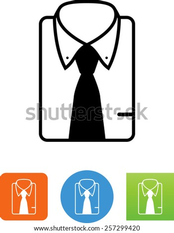 Folded dress shirt with necktie symbol for download. Vector icons for video, mobile apps, Web sites and print projects.