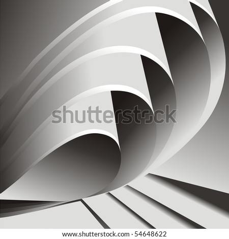 Folded gray paper. Vector. - stock vector