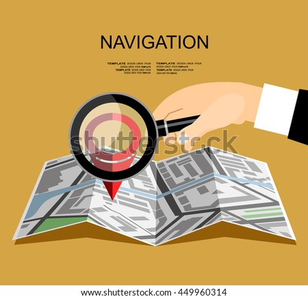 Folded map with pin and magnifier. Flat design style. - stock vector