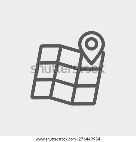 Folded map with pin icon thin line for web and mobile, modern minimalistic flat design. Vector dark grey icon on light grey background. - stock vector