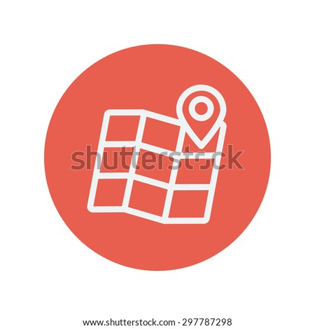Folded map with pin thin line icon for web and mobile minimalistic flat design. Vector white icon inside the red circle - stock vector