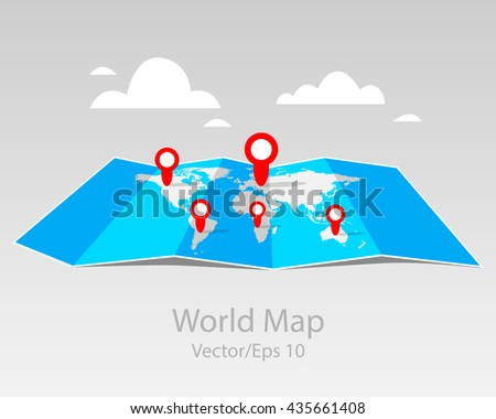 Folded maps, vector world map with infographic. With point markers, flat design. - stock vector
