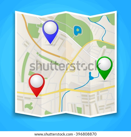 Folded maps with color point markers. Vector flat abstract city map with pin pointers