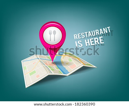 Folded maps with pink color point markers, restaurant is here design background, vector illustration - stock vector