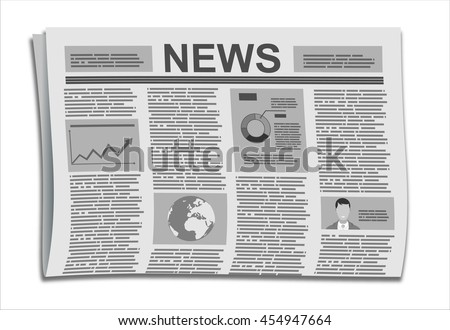 Folded Newspaper News with Articles and Graph, isolated on white background, vector.  Flat design style. - stock vector