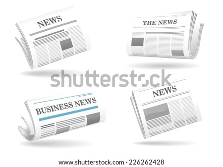 Folded newspaper vector icons with type and picture mockup and various headings News, The News, Business News floating above shadows - stock vector