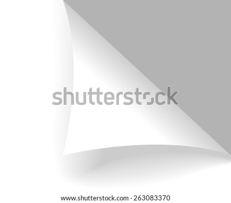 Folded normal paper with grey background - stock vector