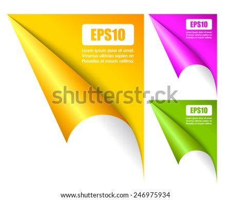 Folded page corners - stock vector