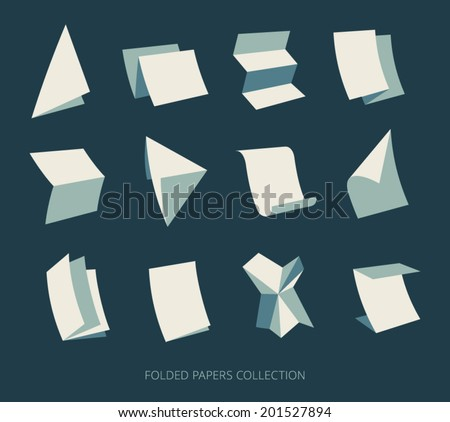 Folded paper sheets and documents. Logo template. Vector icons set. - stock vector