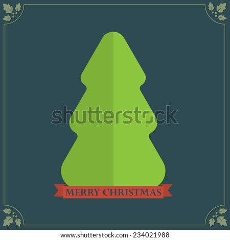 Folded paper texture Christmas tree holidays greetings - stock vector