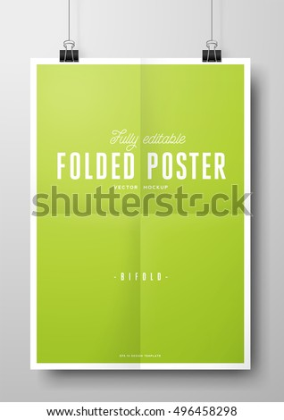 folded poster vector eps mockup with paper clips - fully editable template of a poster hanging in front of a wall, folded three times / trifold