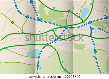 Folded road map - stock vector
