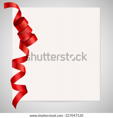 Folded satin ribbon on paper - stock vector