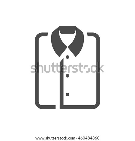Folded shirt icon in single grey color. Laundry cleaning - stock vector