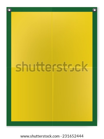 Folded texture yellow blank paper poster illustration - stock vector