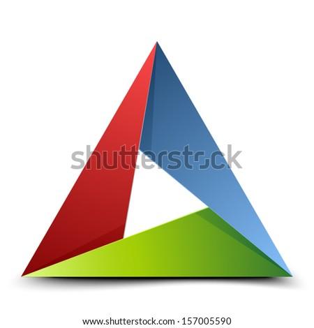 Folded triangle - stock vector