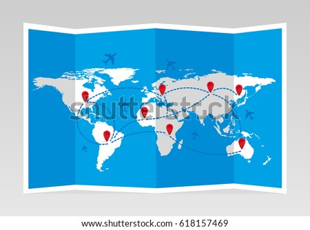 Folded world map airplanes markers travel stock vector 618157469 folded world map with airplanes and markers travel and tourism vector illustration gumiabroncs Images